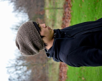 Slouchy Beanie, Men's Slouchy Beanie, Men's Knitted Hat, Hand Knit Hat, Slouchy Hat, Brown