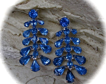 On Sale Vintage Joseph WIESNER Deep Ice Blue Dangles Clip Earrings