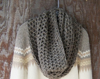 CROCHET NECKWARMER in BARLEY crochet cowl fall scarf large chunky neck warmer infinity scarf grey brown