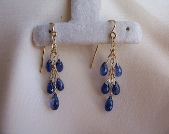 "Little Blue kyanite teardrop briolette dangle earrings 1.5"" total  14k gold filled gemstone handmade item 437"