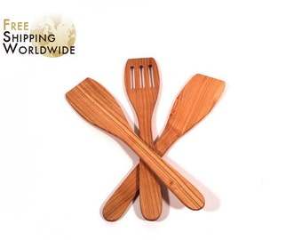 Wooden Spatulas SET of 3 - Two Regular and One Slotted Spatula from Cherry wood - 4