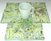 8 Fabric Coasters, Water and Stain Resistant, Light Green Print, Handmade