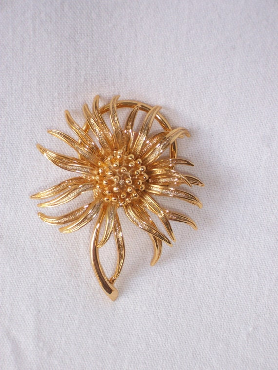 French Scarf Ring Broach Brooch marked Urena Paris 1980s