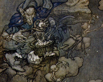 Old Moons Made Into Stars Arthur Rackham Vintage Children's Nursery Lithograph Art Print To Frame