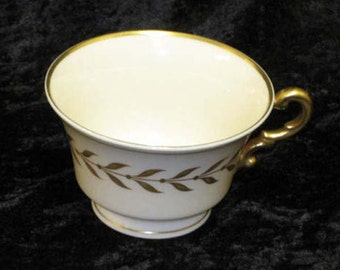 Syracuse China Jefferson Footed Teacup Laurel Border 24k Gold Vintage Kitchen 1940s 1950s