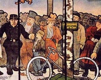 Kosmos Bicycle Tires Louis Oury Paris France 1900 Art Nouveau Vintage Lithograph Poster Transportation Ad To Frame