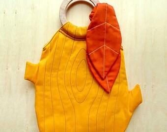 Tree Stump Handbag - Tree Purse - Tree Stump Purse - The Woodlands Purse - Yellow Handbag Orange Leaves Detail