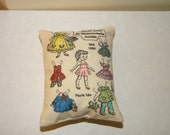 OOAK Painted Paper Doll Set of 2 Doll Pillows for Blythe, Monster High, Barbie, Fashion Royalty, Momoko