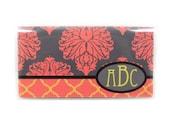 Personalized checkbook cover - Baroque Damask - elegant monogram check book holder - grey, coral, orange