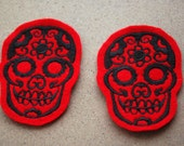 Day of the Dead Skull Patch Set Red/Black Pixiefashions (custom colors, great for sweaters)