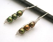 Peapod earrings. Three peas in a pod with bronze forest green fresh water pearls.  Mothers day gift. Peapod jewelry.
