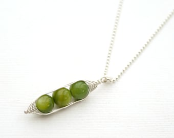 Peapod necklace. Three peas in a pod with green mother of pearl. Peapod jewelry, gift for mom, sister, or best friend. Mothers day gift