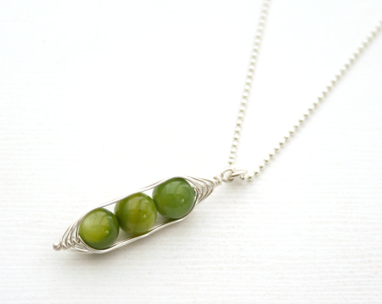 peapod necklace three peas in a pod with by luckyaccessories