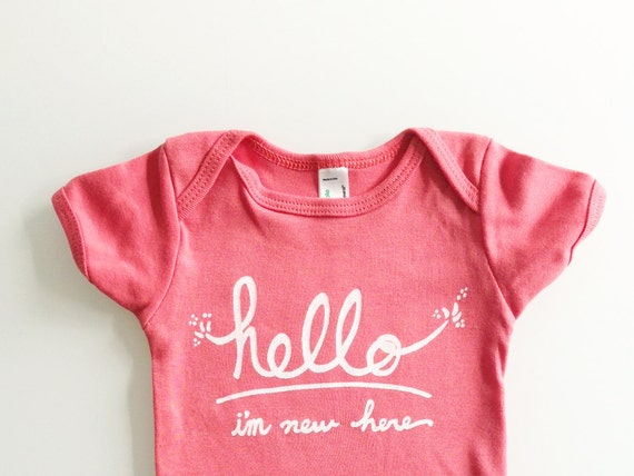 Hello I'm New Here - Funny text baby one piece (3-6 mo - coral)