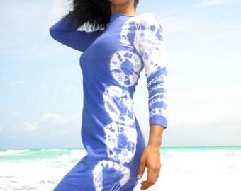 Tie Dye Tee Dress in Certified Organic Hemp Stretch Jersey. Made to order.