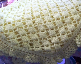 Yellow Eyelet Lace Baby Blanket/Afghan 38
