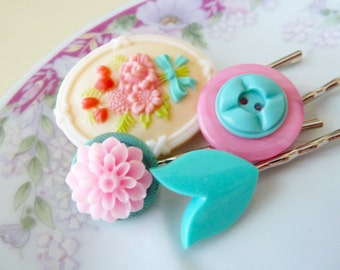 Cameo Bobbie Pins, Floral Hair Accessories Flower Cabochon Bobby Pin Set, Vintage Buttons Pink Aqua