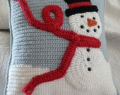 Snuggly Crocheted Snowman Pillow for your Holiday Winter Home