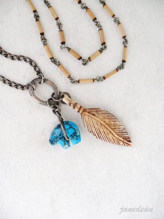 Bear Fetish Charm Necklace - bone feather on bamboo and sterling silver chain