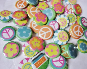 Handmade Wedding Favors -50 1 Inch Pinback Buttons - A Groovy Kind Of Love