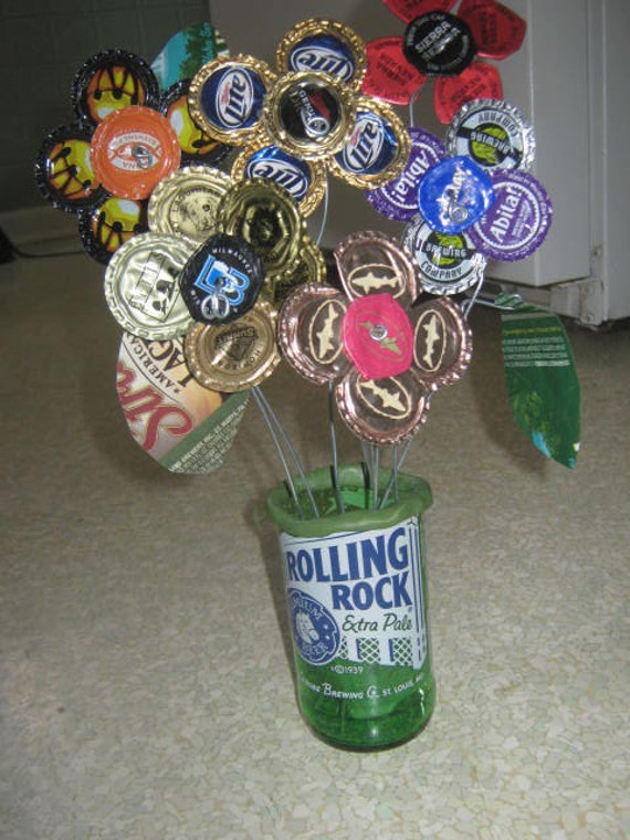 Items similar to beer bottle cap flower arrangement on etsy for How to make bottle cap flowers