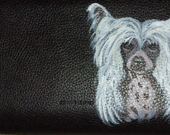 Chinese Crested Dog Custom Painted Women's Leather wallet