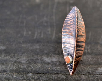 fall leaf brooch - fold formed copper and peach moonstone