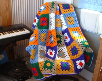 New, Hand-Crocheted, 8-Color, 42-Square GRANNY SQUARE AFGHAN