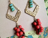 Clusters of Vintage Coral Colored Japanese Swirl Beads Hung In Brass Chain and Hand Wrapped Aqua Czech Glass Beads