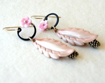 Botanical Earrings - Flower Earrings - Leaf Earrings - Leaf Jewelry - Pine cone Earrings - floral jewelry - boho chic - bohemian jewelry