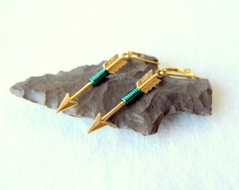 Archer Earrings - Arrow Earrings - emerald green wire wrapped arrow earrings - May birthday - Arrow Jewelry - Sagittarius - boho chic