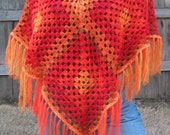 Painted Desert Granny Square Poncho Cover Up Crochet Pattern