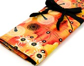 Large Knitting Needle Case - Bellflower Orange - 30 black pockets for straight, circular, double point needles or paint brushes