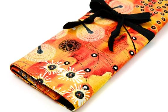 Large Knitting Needle Case - Bellflower Orange - 30 black pockets for straight, circular, double point needles or paint brushes
