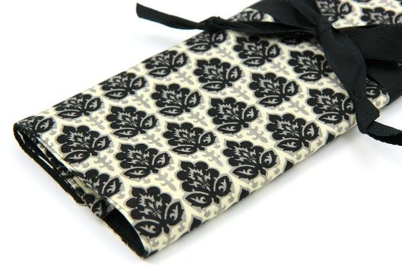 Large Knitting Needle Case - Little Black Dress - 30 Multi black pockets for circular, straight, dpns