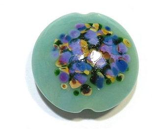 Handmade Glass Lampwork Bead Jadeite  Flower Jumbo Lentil