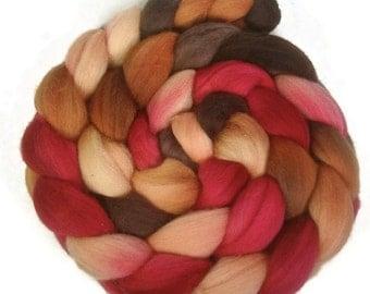 Handpainted Polwarth Wool Roving - 4 oz. PERSIMMON - Spinning Fiber
