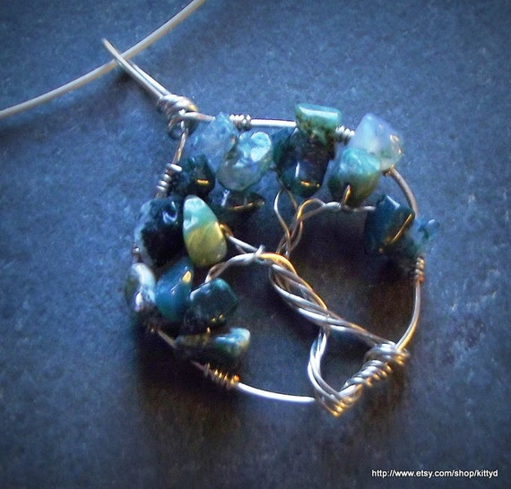 Wire Wrapped Green Moss Agate Tree of Life Necklace
