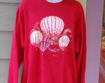 Vintage 80s Red Hot Air Balloons Glittery Baggy Sweatshirt Size Medium