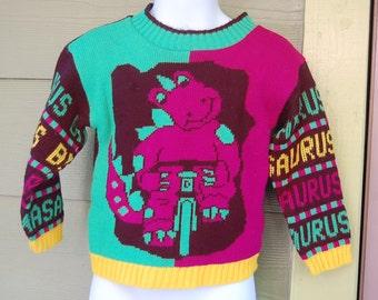 Vintage 80s J J Poole Bright Purple Dinosaur Barney Wannabe Bikasaurus Sweater Jumper Size 3/4 Toddler