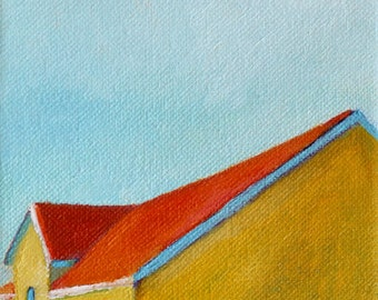 Modern Yellow Barn Signed Print of Original Oil Painting