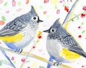 aceo painting limited edition / watercolor painting / pair of titmouse birds ACEO