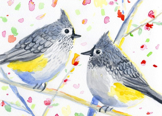 pair of titmouse birds ACEO