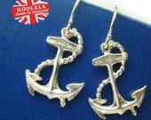 Sterling Silver Anchor Charm Earrings Handmade by Hoolala Hallmarked 925