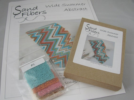 Wide Summer Abstract - Sand Fibers Kit with Printed Pattern and OOAK Lisa Peters Art Button - 8
