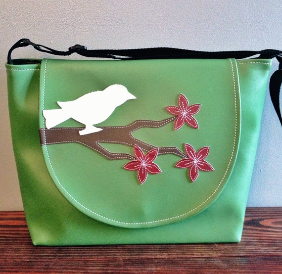 Cherry Blossoms and Bird Green Vinyl Purse
