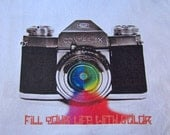 Reserved for  cassandra  Vintage camera women's t-shirt titled Fill Your Life With Color XXL