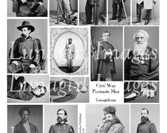 VINTAGE MEN digital collage sheet Civil War photos antique victorian images steampunk supplies DOWNLOAD altered art ephemera