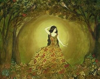 Summers Cauldron 5x7 Card  Fine Art Print Pagan Mythologogy Bohemian Art Nouveau Gypsy Goddess Art