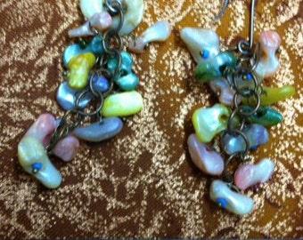 Fun Multi Color Candy Dangle Earrings Stone Dangles